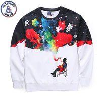 New Arrival Men Women 3d Sweatshirts Funny Print Smoking Person Colroful Smoke Space Galaxy Thin Casual