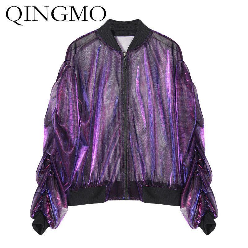 QING MO See-through Women Spring Coat 2018 Puff Sleeve Outerwear Loose Coats and Jackets Transparent Baseball Jacket ADQ019
