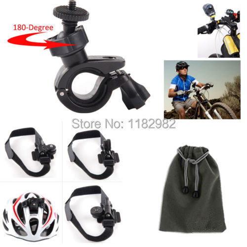 3in1 1set Bike Handlebar Mount + Pouch + Bike Bicycle Helmet Mount Holder for Sony Action Cam HDR AS20 AS30V AS100V AS200V