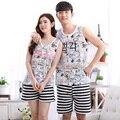 Casal Pijamas para As Mulheres Adoram Homens Pijama Sem Mangas Colete Sleepwear Pijama de Algodão Set