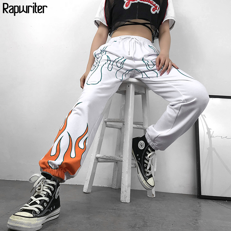 Rapwriter Casual Fire Print Elastic High Waist Trousers Women 2019 Summer Streetwear Harajuku Sweatpants Joggers Straight Pants