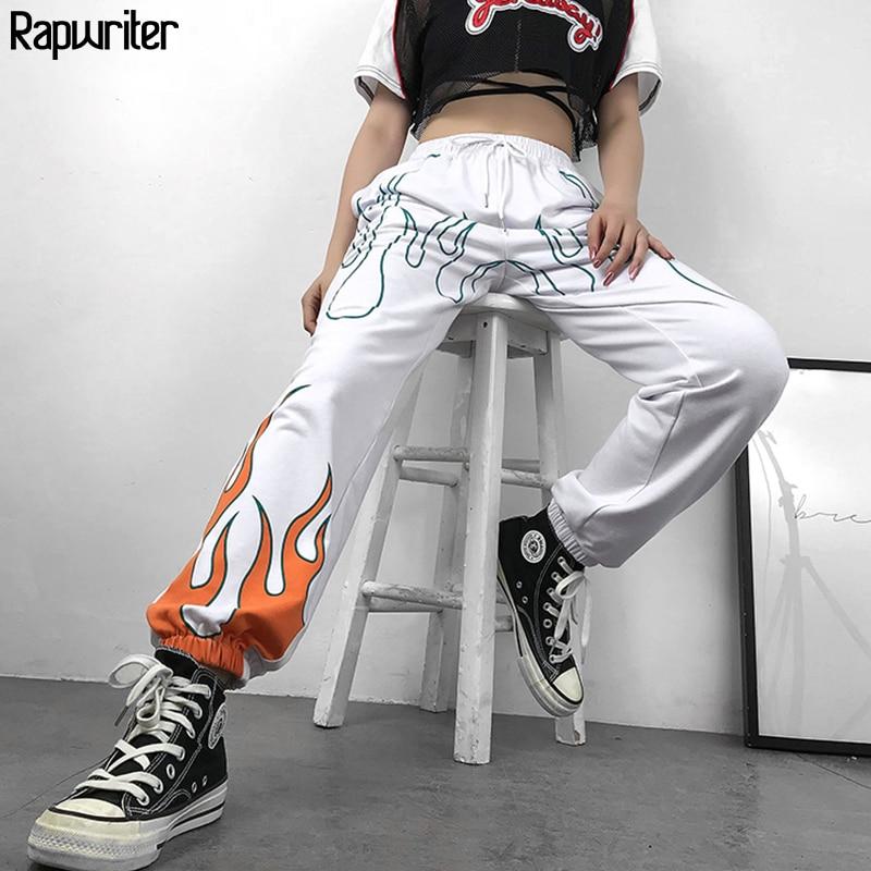 US $16.67 47% OFF|Rapwriter Casual Fire Print Elastic High Waist Trousers Women 2019 Summer Streetwear Harajuku Sweatpants Joggers Straight Pants in