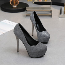 Women Pumos Shoes Round Toe Slip-On Bling 14cm 12cm Thin High Heels Shallow 4.5cm Platform Solid Sexy Lady Party Female Shoes цена и фото