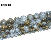Free Shipping Plated Golden White Snow Cracked Crystal Natural Stone Beads For Jewelry Making Charm DIY Bracelet 6/8/10/12 MM
