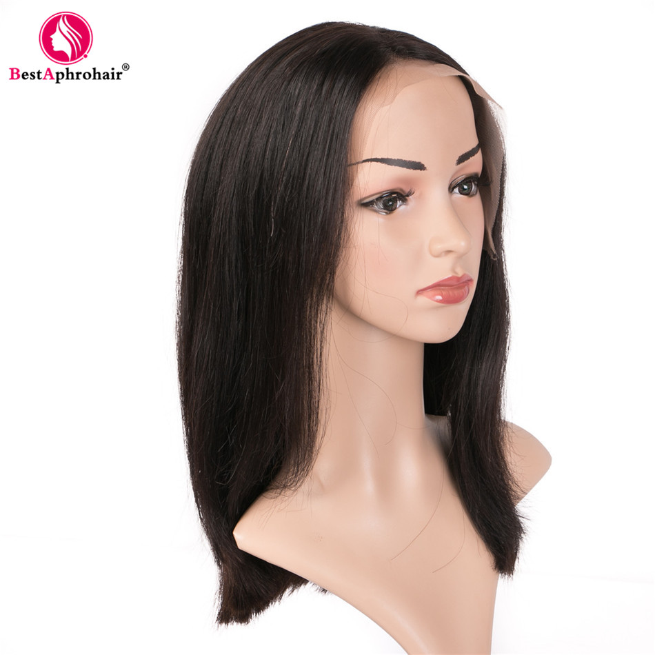 Aphro Hair Short Human Hair Wigs Peruvian Straight Lace Front Wigs Bleached Knots For Women 100% Remy Hair Bob Summer Wigs Black