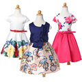 2017 Summer European American girls dress princess tutu dress Floral Print girl dress wedding Frocks With Belt For 2 4 6 8 10 Y