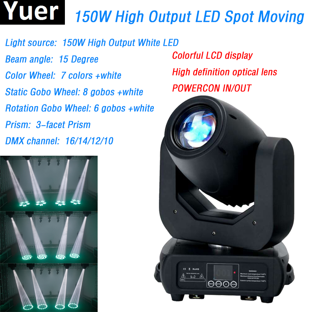 цена LED dj light zoom 150w led spot moving head High brightness 150 led moving head beam wash 16/14/12/10 Channel For DJ Stage Party