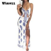 Wimuzz Sexy Strand Stil Druck Weißen Kleid Rüschen Bow Bodycon Lange Rutsch Vestidos Abendgesellschaft Frauen Club Maxi Kleider