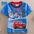 NEAT 2016 New baby boy clothes kids wear High-speed car children cartoon short sleeve T shirt boy T-shirts for 2-6 Years S8103#