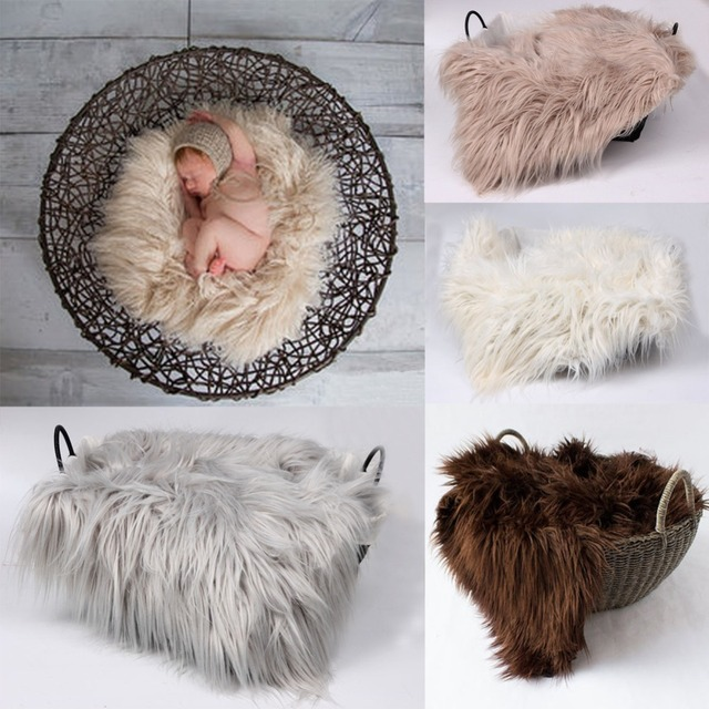 60cmx50cm newborn photography props blanket faux fur basket stuffe photo prop background babies soft basket photo