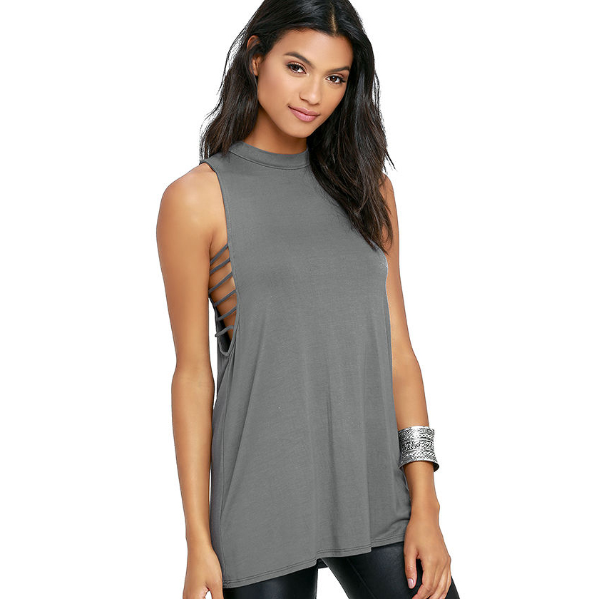 Sleeveless side cut out t shirts women summer grey long slim fit sexy tees ladies street chic red casual loose tshirts tops