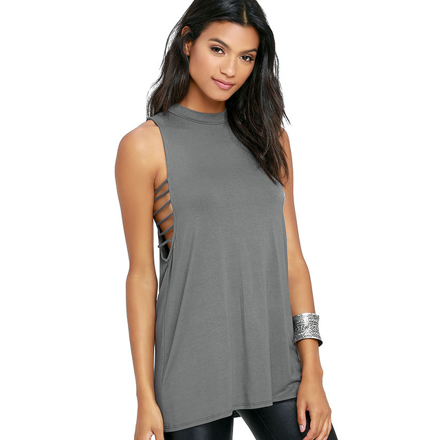 Sleeveless side cut out t shirts women summer grey long slim fit ...