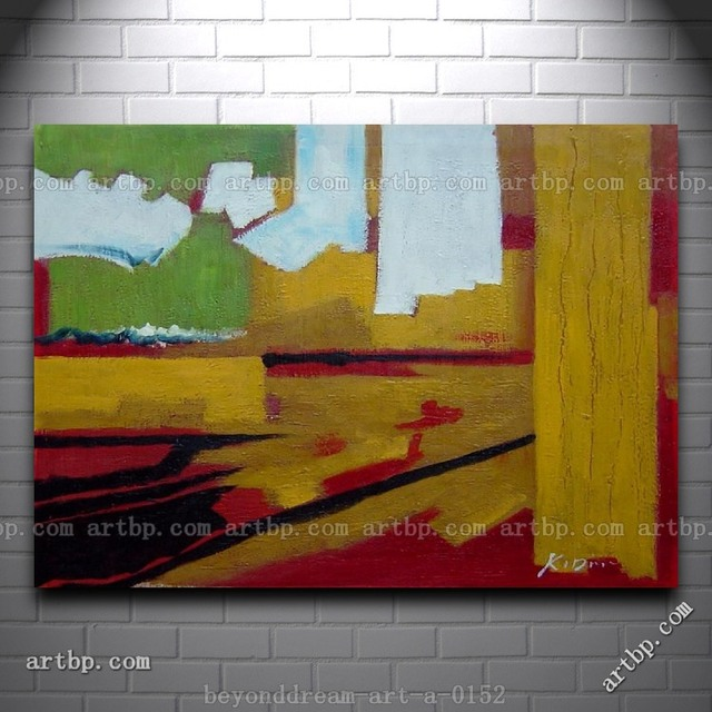 Yellow Red Green And White Abstract Oil Painting Impressionism Home ...