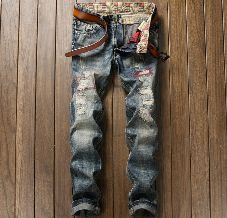 European American Style fashion brand men jeans luxury Mens denim trousers hole zipper S ...