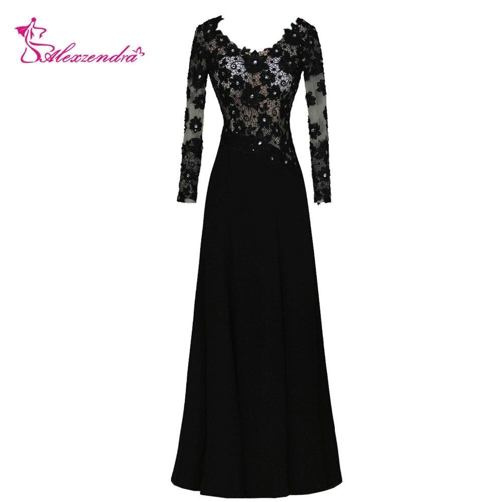 Alexzendra noir dentelle une ligne mère de mariée robe avec manches longues encolure dégagée longues robes de soirée grande taille