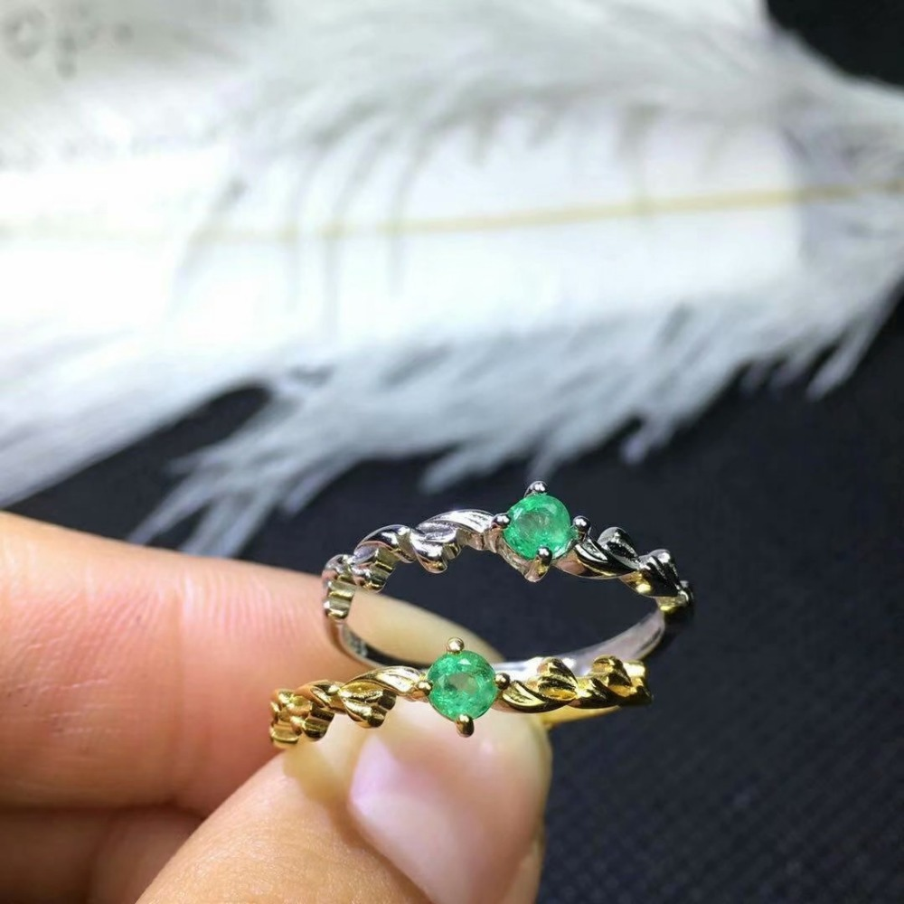 shilovem 925 sterling silver real Natural Emerald Rings fine Jewelry women trendy wedding open wholesale 3 3mm jcj030309agml in Rings from Jewelry Accessories