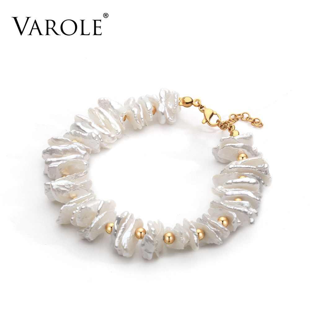 VAROLE 7in Handmade Natural Shell Pearl Bracelets & Bangles for Women Accessories Stainless Steel Clasp Beaded Strand Bracelet