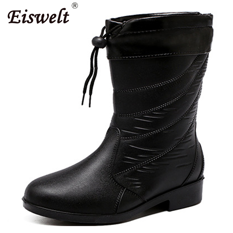 EISWELT 2017 Fashion Drawstring Women Mid-calf Boot Women Solid Rain Boots Women Low Heel Shoes#ZQS143 double buckle cross straps mid calf boots