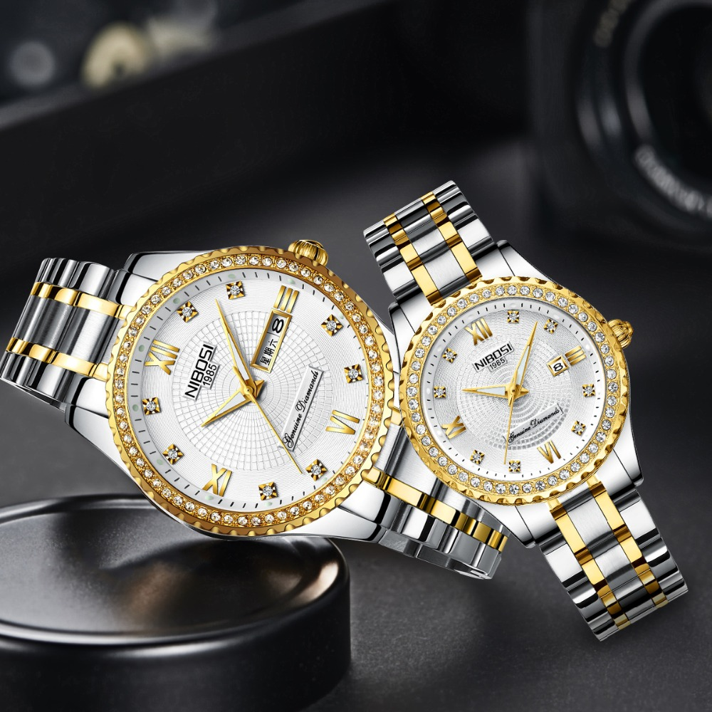 NIBOSI Couple Watch Mens Watches Top Brand Luxury Quartz Watch Women Clock Ladies Dress Wristwatch Fashion Casual Lovers Watch