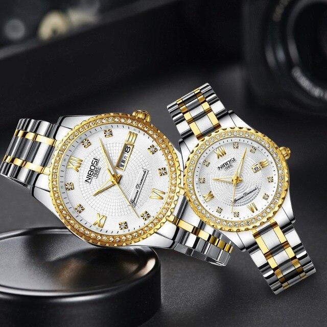 NIBOSI Couple Watch Mens Watches Top Brand Luxury Quartz Watch Women Clock Ladie