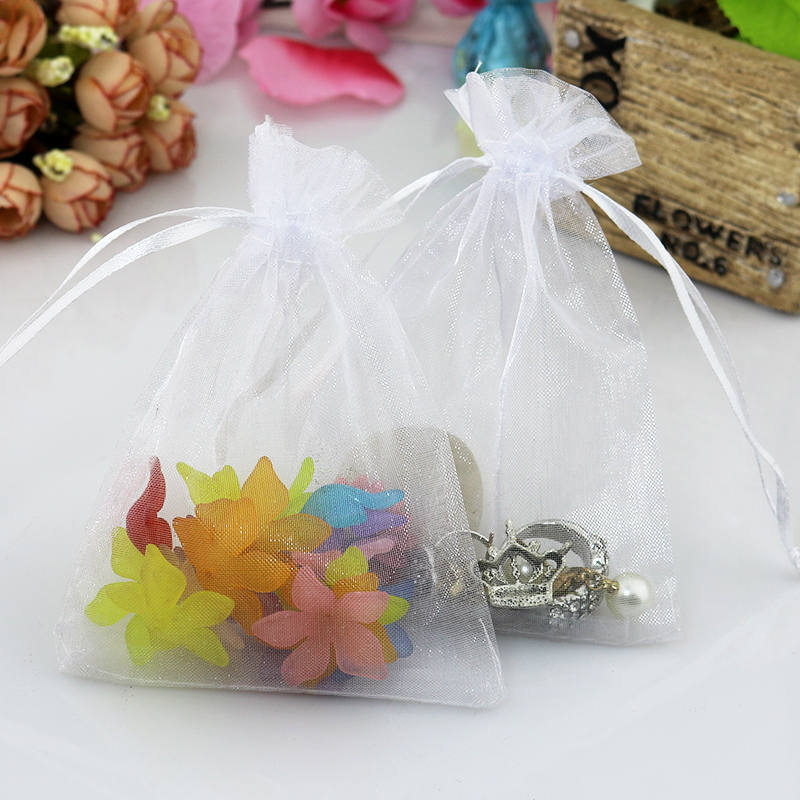 Wholesale 100pcs/lot 9x12cm White Organza Bags Christmas Gift Bag Wedding Voile Charms Jewelry Packaging Bags Small Pouches