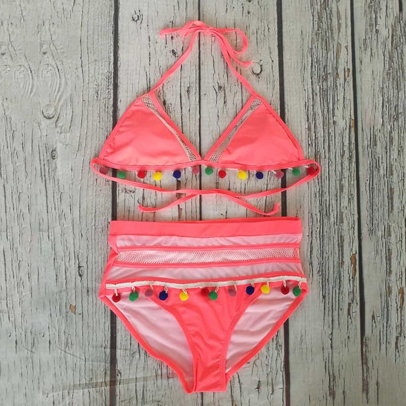 YCDYZ wysokiej talii Bikini 2019 Sexy Boho stroje kąpielowe kobiety frędzle Halter strój kąpielowy Push Up kostium kąpielowy brazylijski Biquinis Feminino