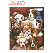 Diy Diamond paintings Family Dog Embroidered Square Mosaic Cross Stitch Home Improvement Painting. LUOVIZEM L183