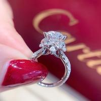 18K 750Au White Gold 1ct DF color Lab Diamond Engagement Ring Moissanite Halo Diamond Ring For Women