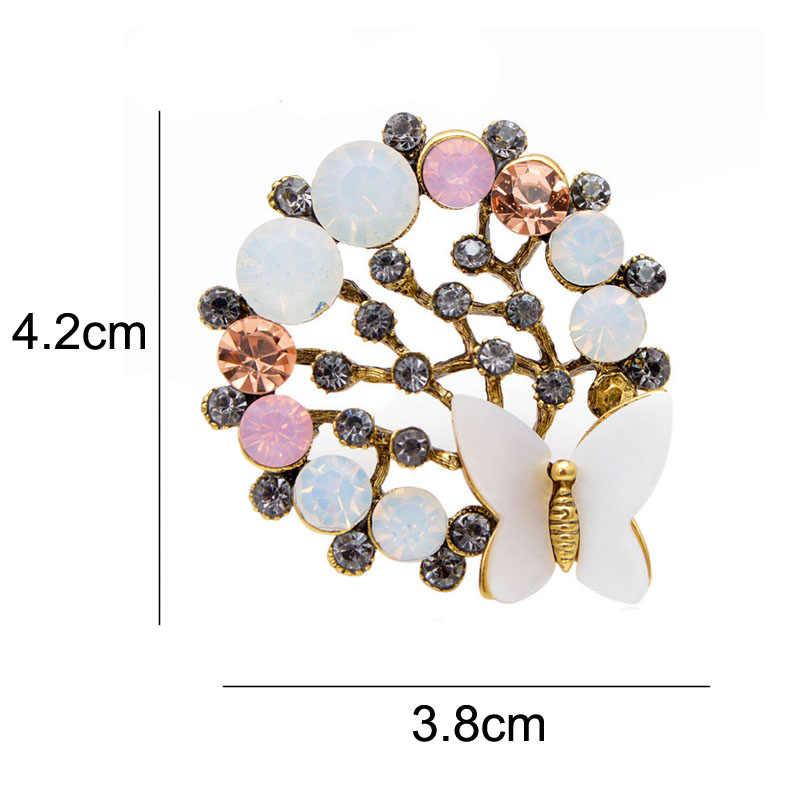 Cindy Xiang Berlian Imitasi dan Shell Kupu-kupu Bros untuk Wanita Lingkaran Desain Pin Vintage Elegan Pernikahan Perhiasan Berkualitas Tinggi