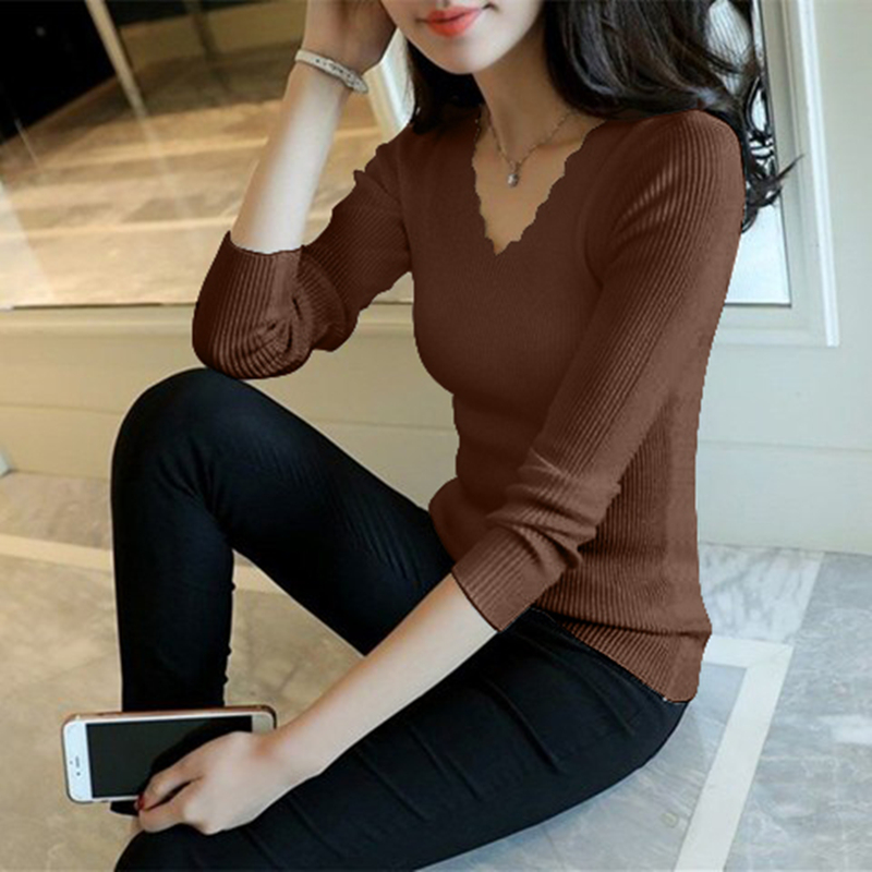 Sueter Mujer Invierno 2019 Autumn Winter Women Sweaters And Pullovers V Neck Long Sleeve Solid Slim Knitted Pull Femme