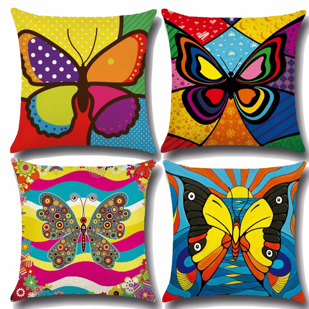 CAMMITEVER Colorful Magical Butterfly Geometric Pillowcase Cotton Linen Cheap Cushion Covers For Sofa 45x45cm Kids Girls Room