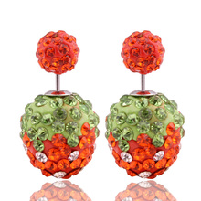 2016 Shining Colorful Crystal Strawberry Earrings Shambhala Double Sides Pearl Earrings For Women Bead Ball Jewelry Brincos pair of stylish double end crack bead earrings for women