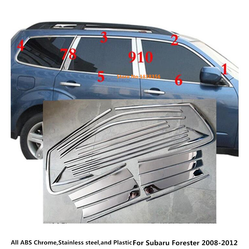 Car styling stainless steel glass window garnish pillar middle column trim hoods for subaru Forester 2008 2009 2010 2011 2012 for renault koleos 2008 2012 stainless steel complete window sill belt trim windows molding trims glass strips car styling