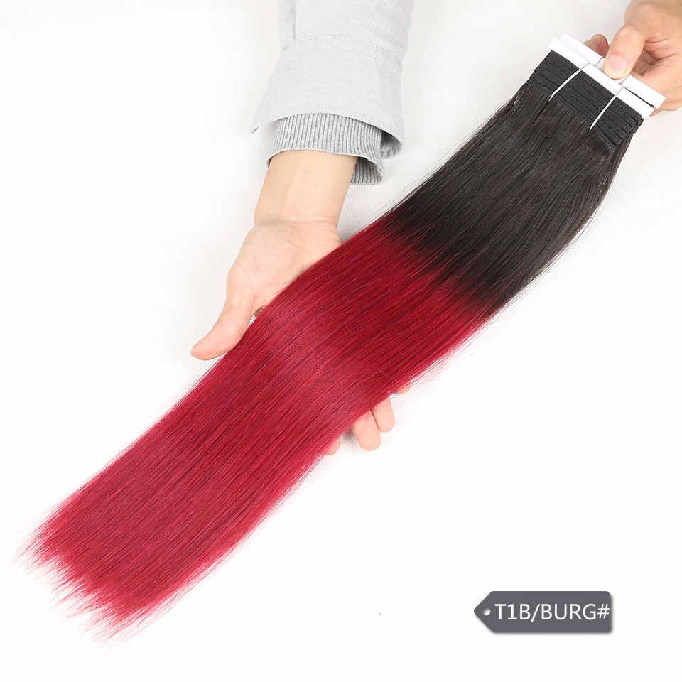 1 sztuka tylko Ombre brazylijski Yaki proste włosy ludzkie wiązki oferty Remy 2 Tone Ombre T1B 27 30 rude włosy wyplata rozszerzenia 113g