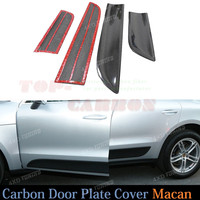 4pcs Set Door Plate Cover Trim For Porsche Macan 2014 2015 Carbon Fiber