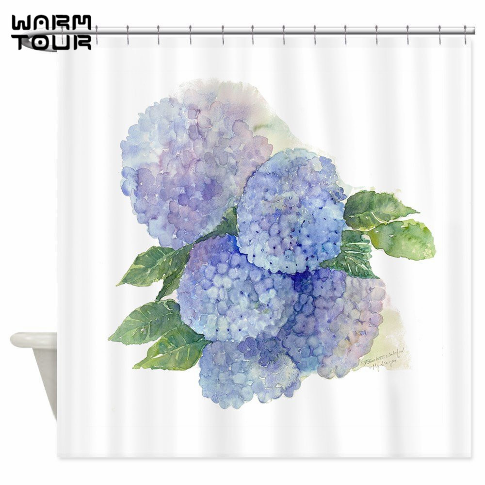 Warm Tour Hydrangeas Flower Decorative Fabric Shower Curtains Simple Floral Polyester Waterproof Bathroom Curtain WTC073