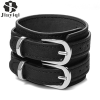 Jiayiqi Vintage Genuine Leather Men Bracelet Double Wide Cuff Rope Bracelet Unsex Jewelry Gift 2017
