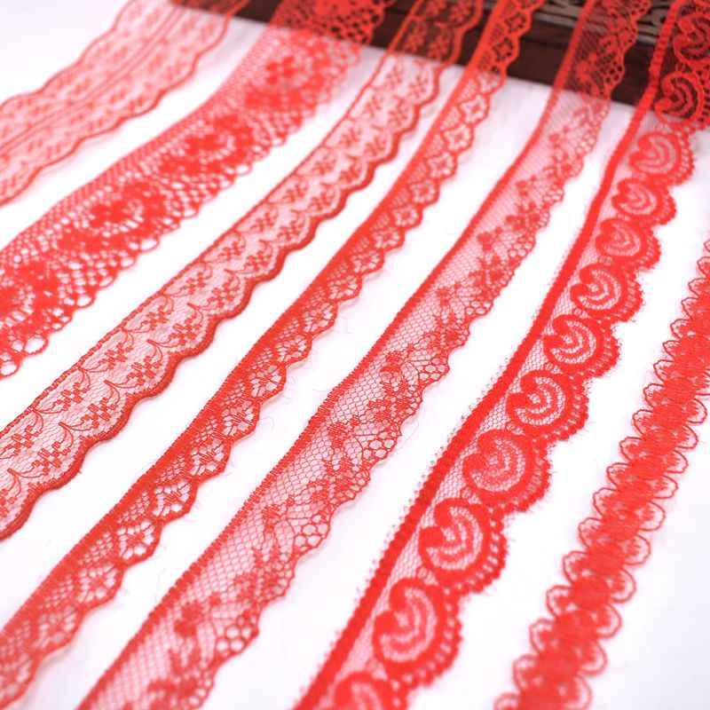 Wholesale cheap 10yards/Lot red lace ribbon african lace fabric DIY embroidery cotton lace trim wedding Accessories decor dentel
