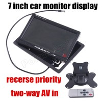 7 Inch For DVD Reversing Camera Reverse Priority Color TFT LCD Car Monitor Display With 2
