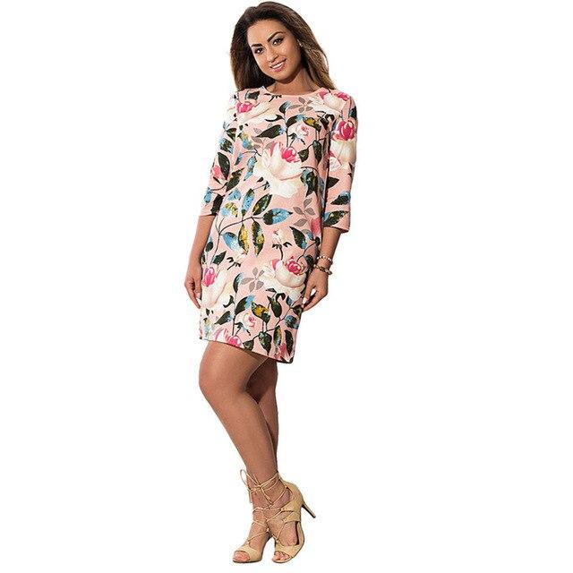 Fat MM Big Size Vintage Dress Women O-neck Printing Jurken 2017 Summer Hot Elegant  Plus Size Women Clothing 6xl Boho Dresses e515bafb8273