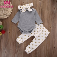 1Set Newborn Baby Boys Girls Deer Tops Romper Pants Hat 3PCS Outfits Clothes Baby Cothing