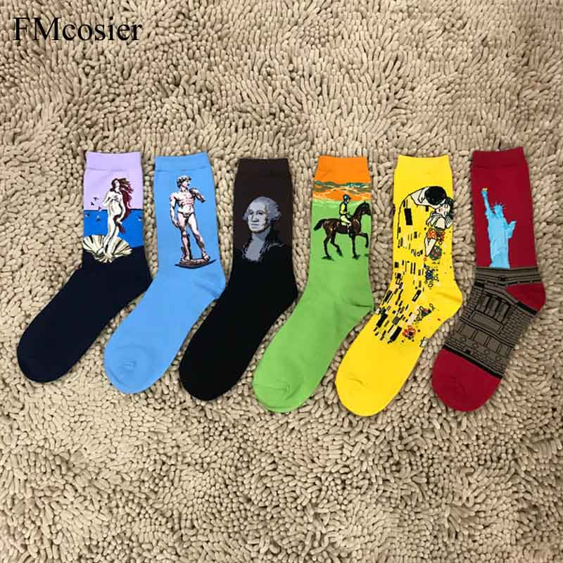 Breathable Cotton Happy Socks Van Gogh Art Men Socks Calcetines Hombre gifts for Man Dress Long Funny Socken Herren oil painting
