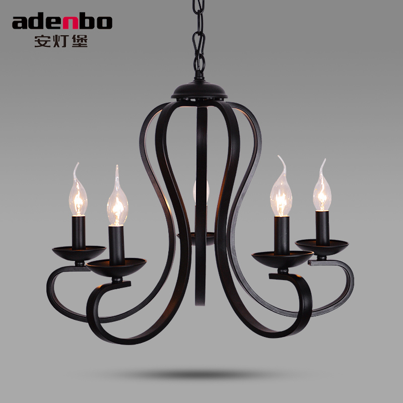 American Style Black Wrought Iron Vintage LED Chandelier Lights Fixtures Candle Chandeliers For Room Lighting (3018) free shipping candle lamp wrought iron restaurant bedroom chandeliers rural white candle wrought iron pendant led lights