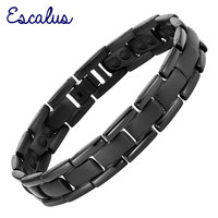 Escalus Titanium Black Power Strong Magnetic Men Bracelet Classic Bio Healing Health Women Bracelets Wristband Bangle