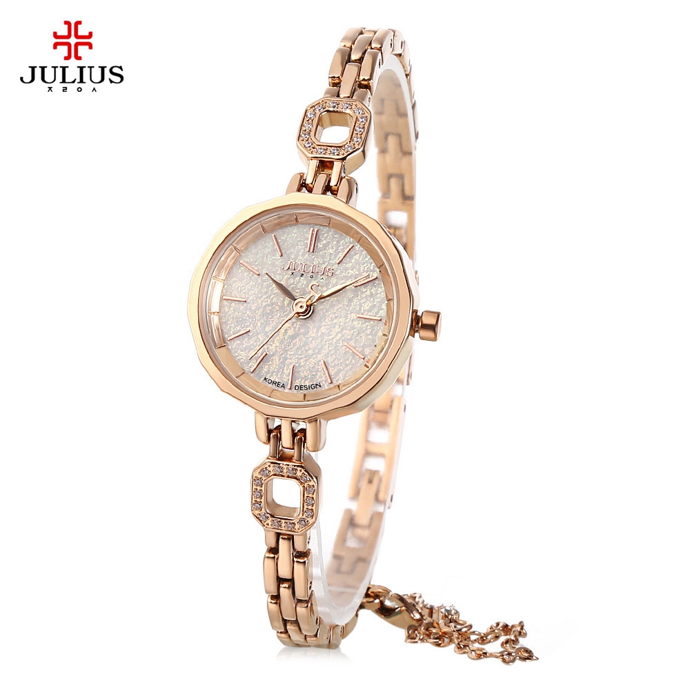 Julius JA - 980 Women Bracelet Watches Shiny Star Dial Rhinestone Dress Quartz Watch gorgeous rhinestone square star bracelet for women