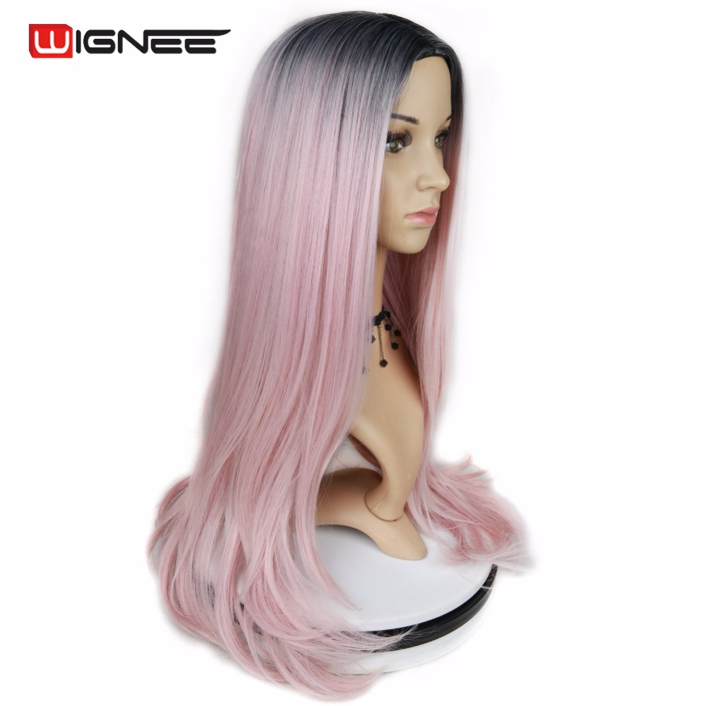 Wignee High Density Heat Resistant Synthetic Fiber Straight Wigs For Women Ombre Pink/Grey/BUG Glueless Cosplay Natural Hair Wig