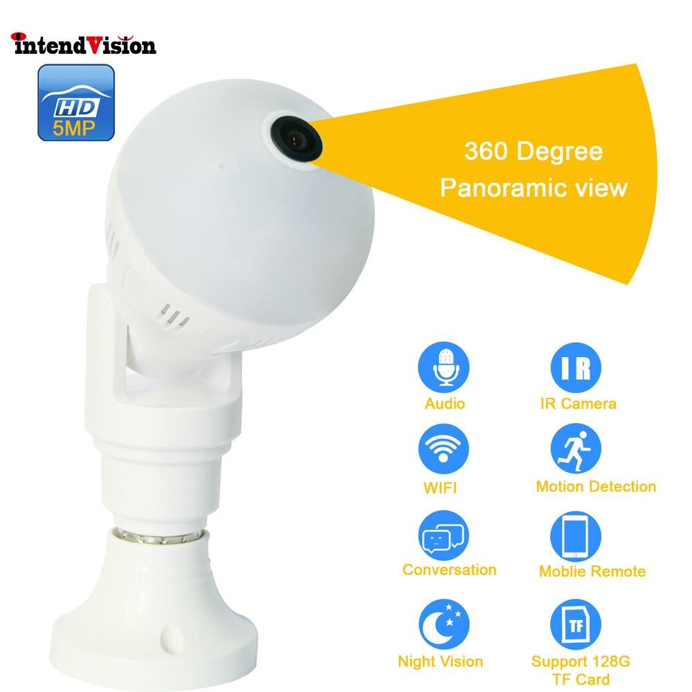 Intendvision E27 Lâmpada Panorâmica de 360 Graus Sem Fio WIFI Câmera 5mp 3mp 2mp Mini IR CUT Câmera De Segurança CCTV Casa IDGD2