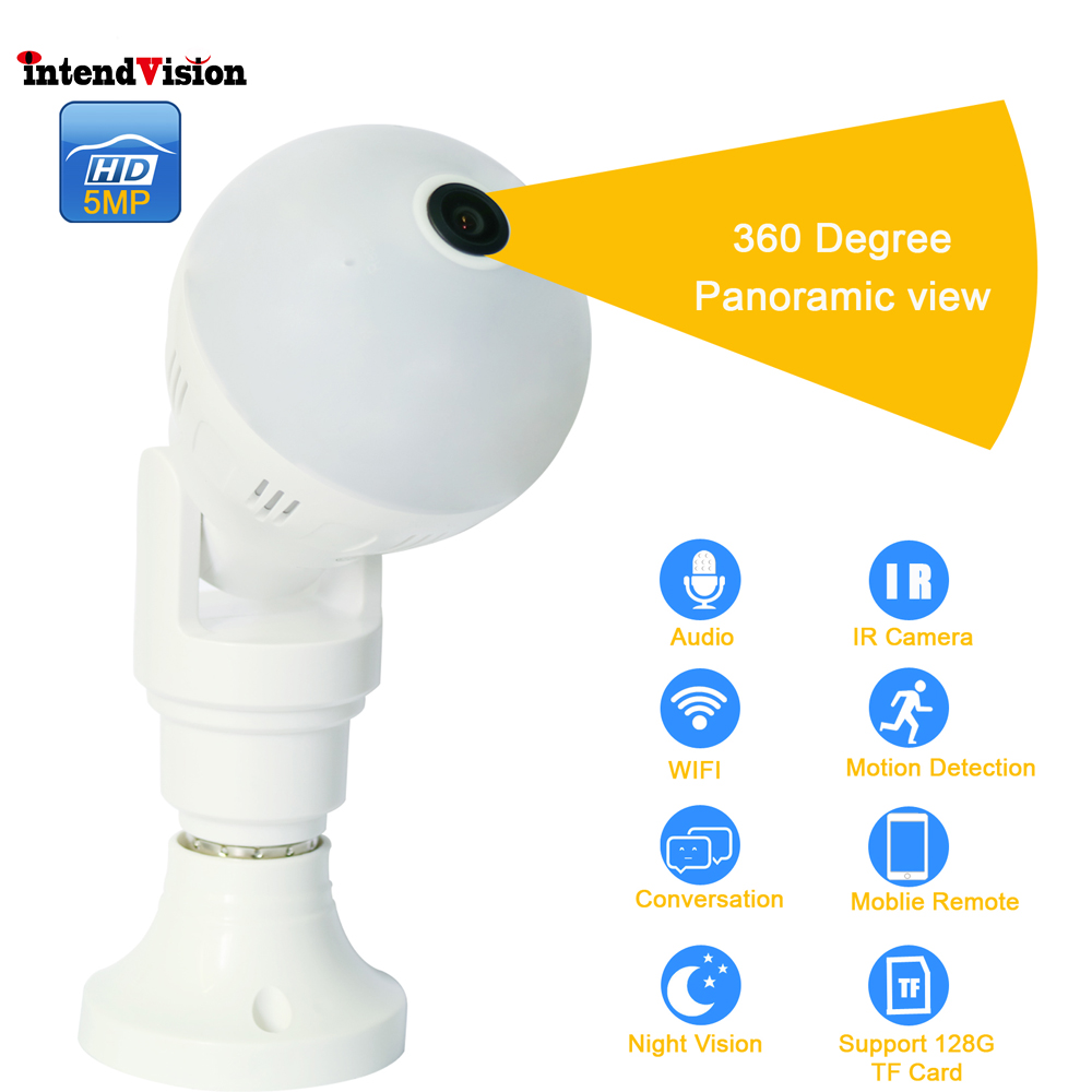 Intendvision Panoramic 360Degree Wireless E27 Bulb WIFI Camera 5mp 3mp 2mp Mini IR CUT Home Security CCTV Camera IDGD2Intendvision Panoramic 360Degree Wireless E27 Bulb WIFI Camera 5mp 3mp 2mp Mini IR CUT Home Security CCTV Camera IDGD2
