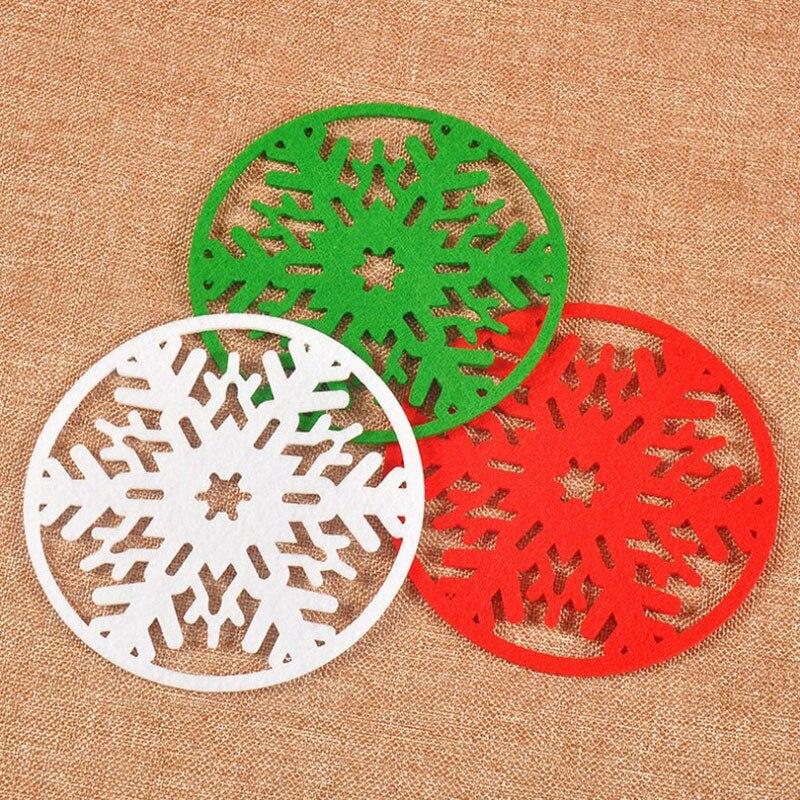 2pcs 10cm Snowflake Shape Felt Round Dining Pad Christmas Party