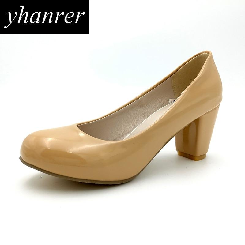 New Women Kitten Heels Basic High Heels Office Pumps Thick Heels Round Toe Lady Shoes Heeled 7cm Plus size 34-43 Y133 kitten heels